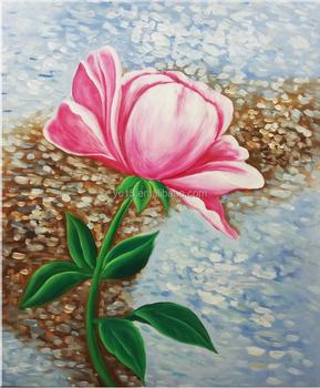 Rose Fleur Peinture Dessins Oeuvre Murale A La Main Moderne Toile