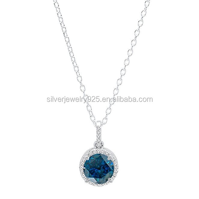 10K White Gold Ladies Halo Pendant ,Sterling Silver Necklace(Silver Chain Included)