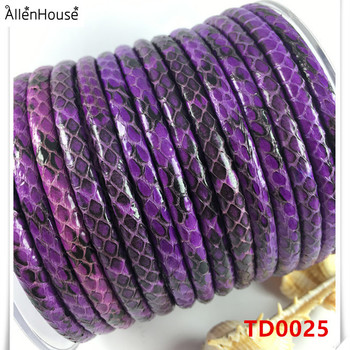 fashion Jewelry Findings & Components european style outside hand sewing purple python skin 5mm round leather cord for necklace
