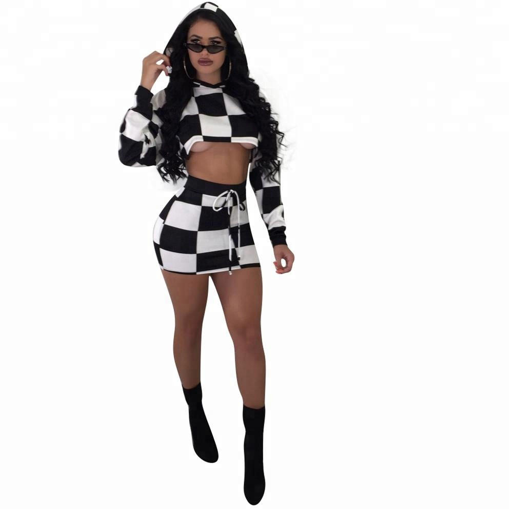 67ffbfdba652f Women Black And White Set Cropped Long Sleeves Elastic High Waist Fashion  Short Skirt 2 Pieces