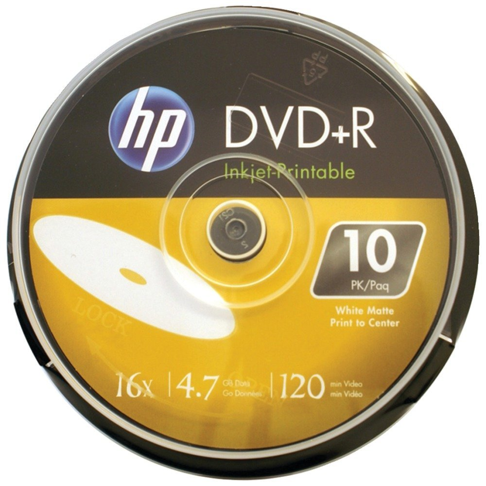 HP DR16WIJH010CB 4.7GB 16x Printable DVD+Rs, 10-ct Cake Box Spindle Consumer electronic
