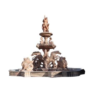 Outdoor Large garden decor stone carving Marble Poseidon statue fountain