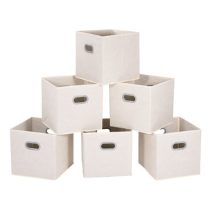 Kids toy fabric cardboard storage boxes cube white decorative storage boxes with plastic handle