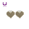 AIDAILA Fashion 18K Gold Plated Heart Shape Micro Pave Zircon Stud Earrings For Women