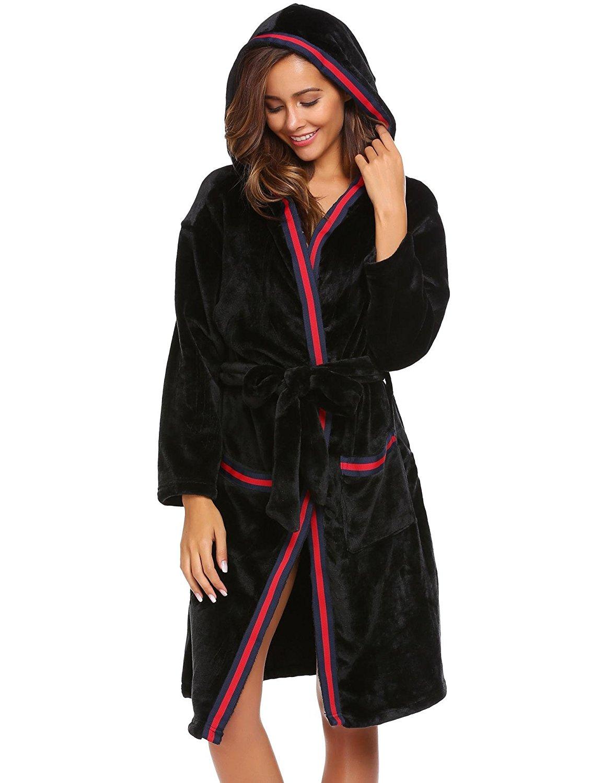 Goldenfox Women Hooded Long Sleeve Patchwork Winter Warm Sleepwear Robe with Belt S-XL