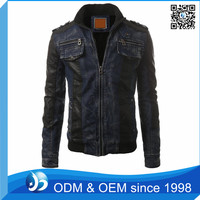 Custom Zipper Denim Jacket Leather Sleeves