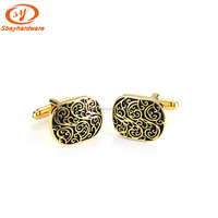 Gold Plated Men's Cufflink With Black Enamel