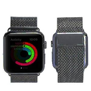 Apple Watch Strap,Rotibox 22mm Milanese Loop Stainless Steel Mesh Replacement Bracelet Smart Watch Band Strap Wrist Band W/ Metal Adapter Clasp Wrist Band for Apple Watch & Sport & Edition 38mm Black