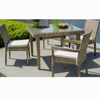 Bali hotel umbrella hole designed outdoor furniture set rattan dining table and 4 chairs