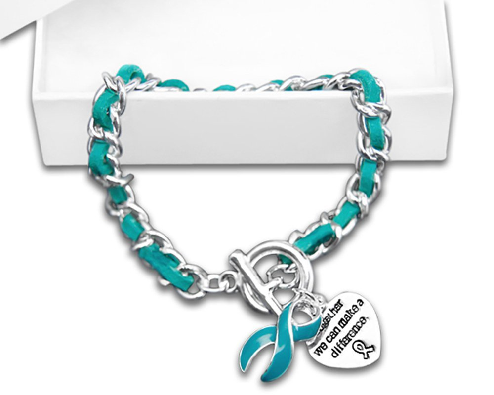 Teal Ribbon Awareness Bracelet in a Gift Box - Leather Rope (Retail)