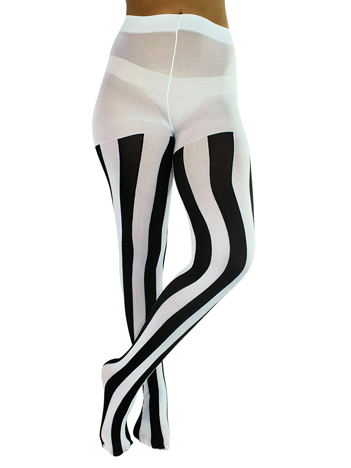 7d9c950223b Get Quotations · Luxury Divas Black   White Vertical Stripe Opaque Tights
