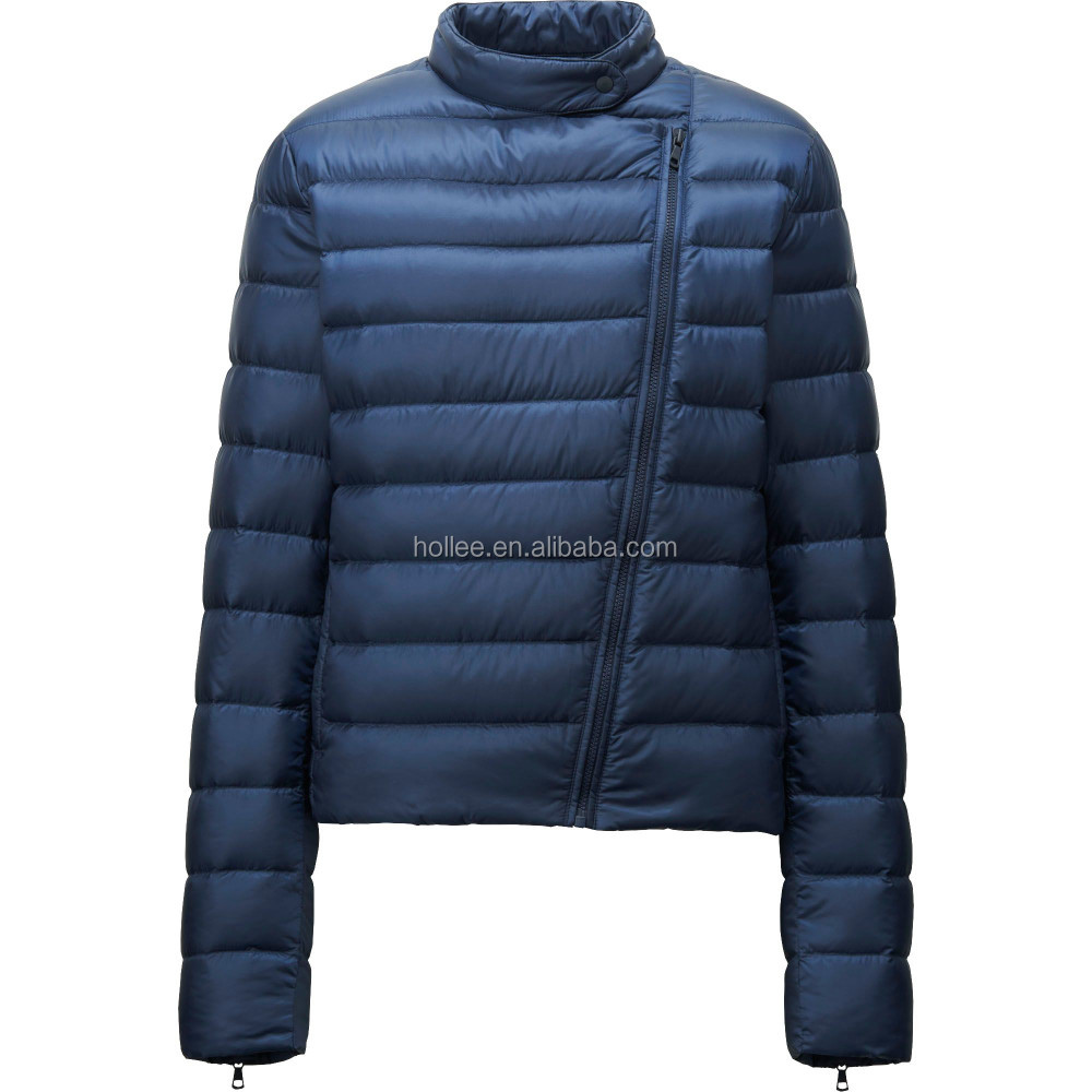 Exhibition Shell Jacket : Hooded women ultra thin foldable down jacket with pouch