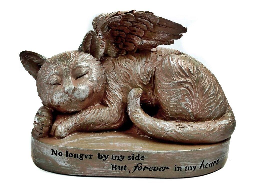 Get Quotations · Cat Memorial Angel Pet Statue For Outdoor Décor, Sleeping  Angel Cat With Wings Garden Statue