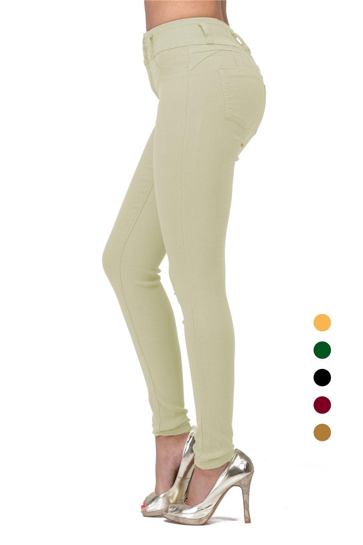 7e1787e9656 Get Quotations · L.B FASHION High Waisted Rise Juniors Butt Lift Curvy Slim  Denim Stretch Skinny Colored Jeans for