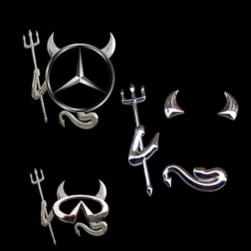 Funny Silver Logo 3D Devil Style Demon Sticker Decal Car Badge Emblem Paper Hot