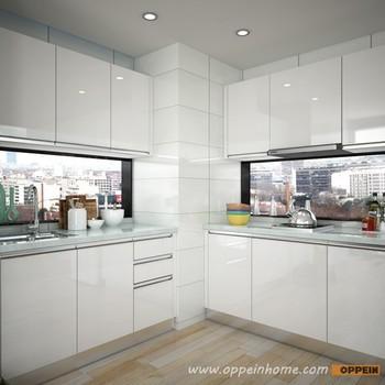 Malaysia Proyek Putih Laminasi Desain Sederhana Kecil Perabot Dapur