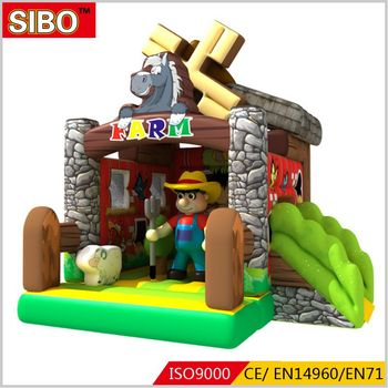Farm theme pvc material inflatable bouncer castle adult baby bouncer for sale