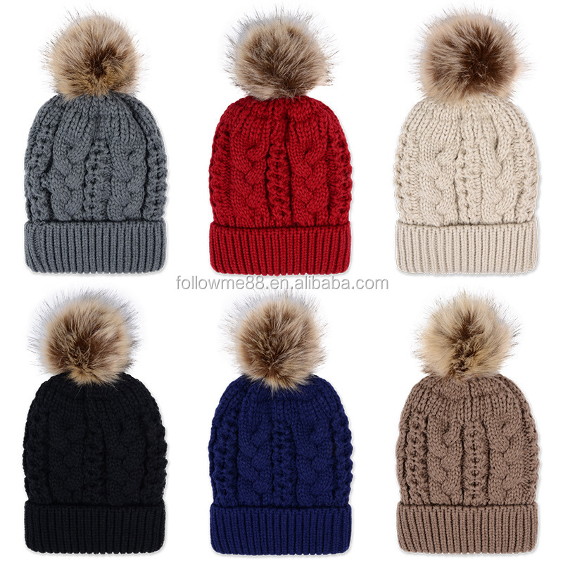 f8ef3219c43c6 New Winter Wholesale Stock Multi-color Cable Knit Hat with Pom Poms Red  Christmas hats