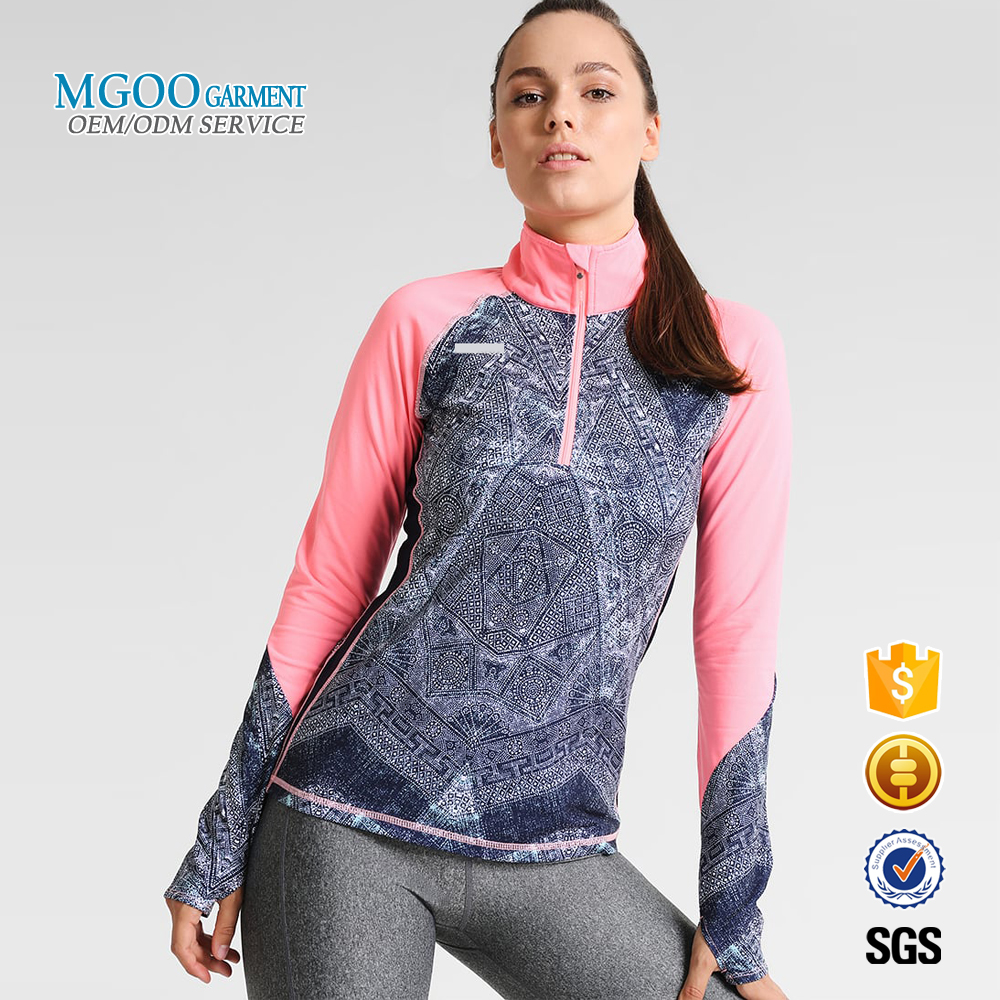 88 polyester 12 spandex dry fit t shirts Finger lock sublimation women sport long sleeve t shirt High neck gym running shirts