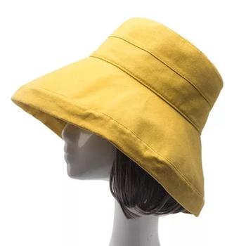 4f1c6d757eb05 Cotton Wide Brim Foldable Bucket Hat Cloche Hat Fisher Sun Hat