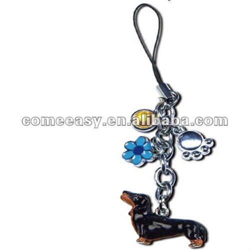 hot dachshund mobile phone key chain