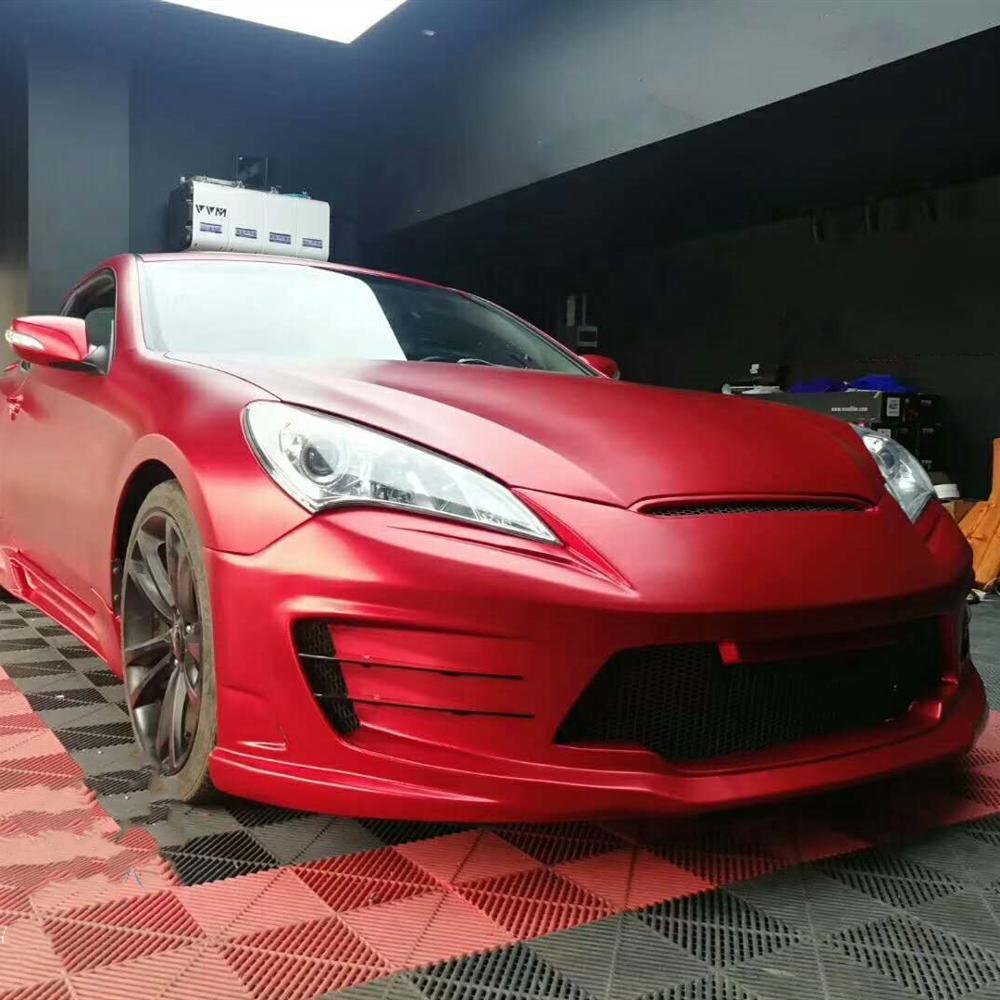 VINYLFROG משי אדום מאט כרום מתכתי 1.52*18m אוטומטי דלת הוד מדבקות PVC לעטוף ויניל עבור ספורט רכב