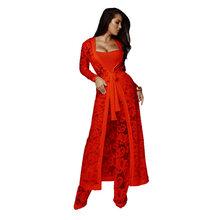 Женский пикантный костюм из трех предметов, прямые кружевные брюки + кружевной Макси-блейзер + облегающий костюм для ночного клуба и вечерин...(Китай)