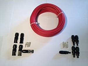 MC4 connectors and 50' Bulk #10 copper 19 strand Red Solar PV Cable