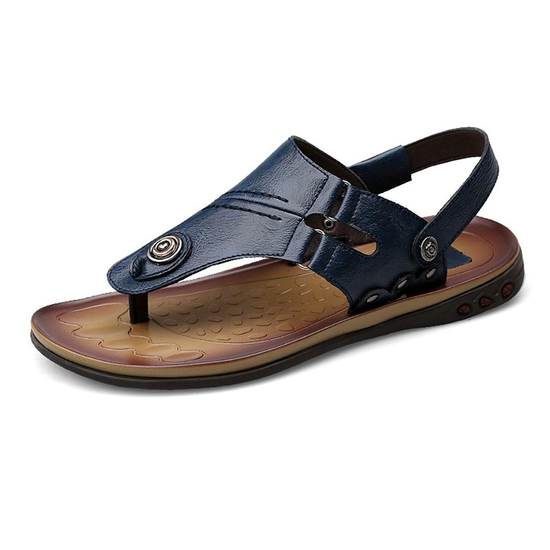 024278206b7e Mens Sandals Thong Flip Flops Shoes Genuine Leather Beach Slippers Non-Slip