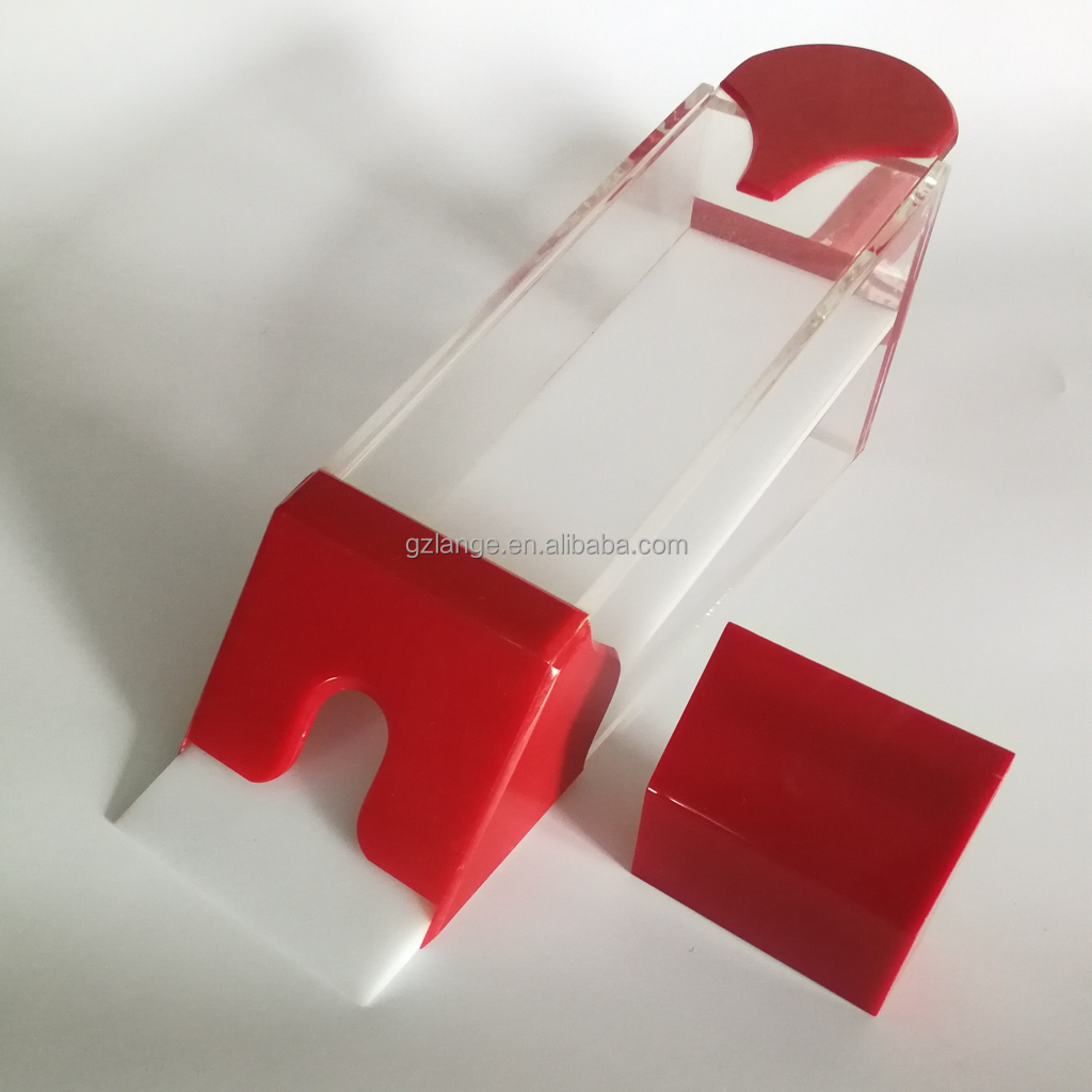 6 - 8 Deck Acrylic Red Professional Poker Card Dealing Shoe with Handle