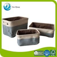 Houseware decorative collapsible canvas bathroom storage basket with handles