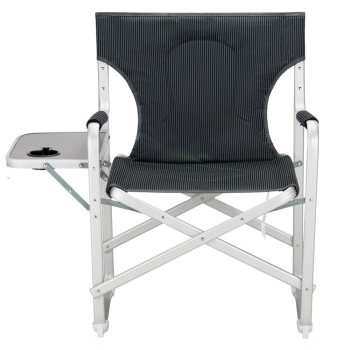 Portable Heavy Duty Aluminum Folding Director Chair Padding Comfort Sy Reclining With Armrest Side Table And