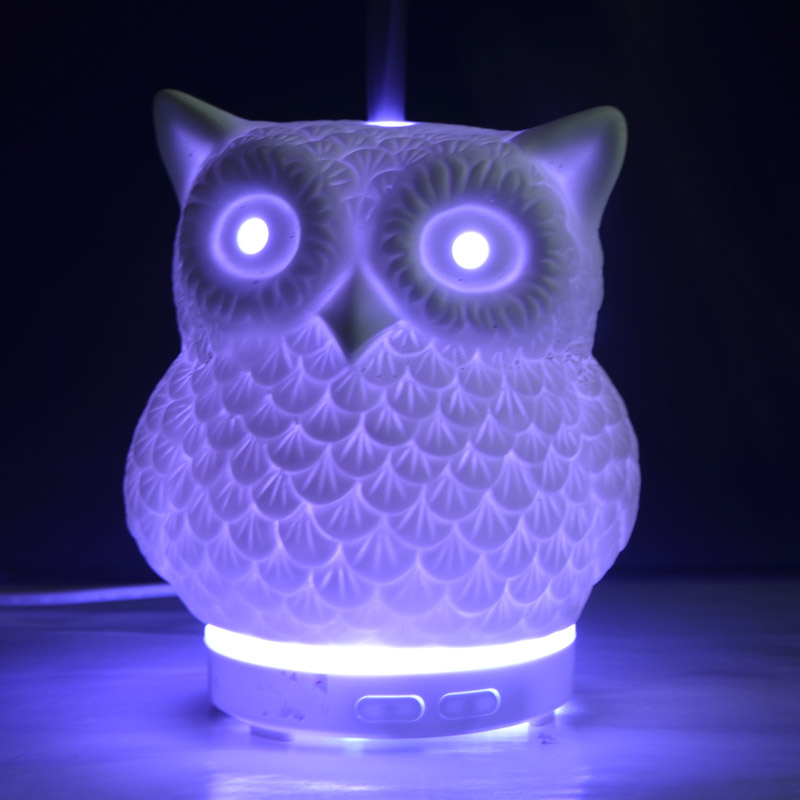 100ml white owl shape porcelain electric ulatrasonic essential oil diffuser factory