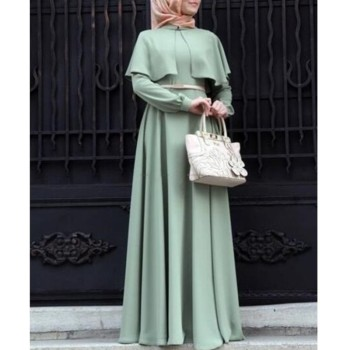 7 Color New Hot Elegant Muslim Maxi Dress With Long Sleeves Spring Autumn Long Robes Dresses Ladies Middle East Islamic Clothing