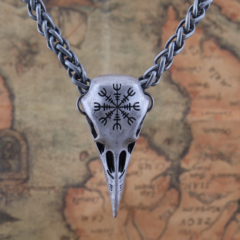 Nordic Viking Helm of Awe Odin Raven Vegvisir Compass skull Pendant Necklace For Men Amulet Jewelry Gift