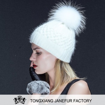 European style luxury white winter fur knitted hat women with ball top pom  pom 8e6bd591bc6