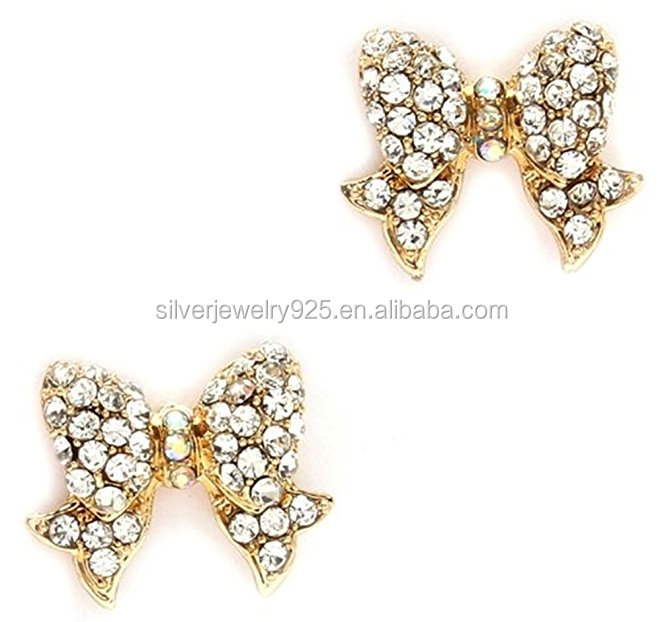 Adorable Gold Tone Crystal Ribbon Bow Princess Stud Earrings