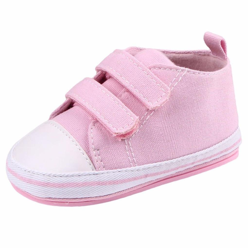 Kintaz Baby Canvas Sneaker Infant Toddler Dual Strap Trainer Anti-Skid Rubber Sole Prewalker Shoes for indoor outdoor walking (Pink, Age:9-12Month)