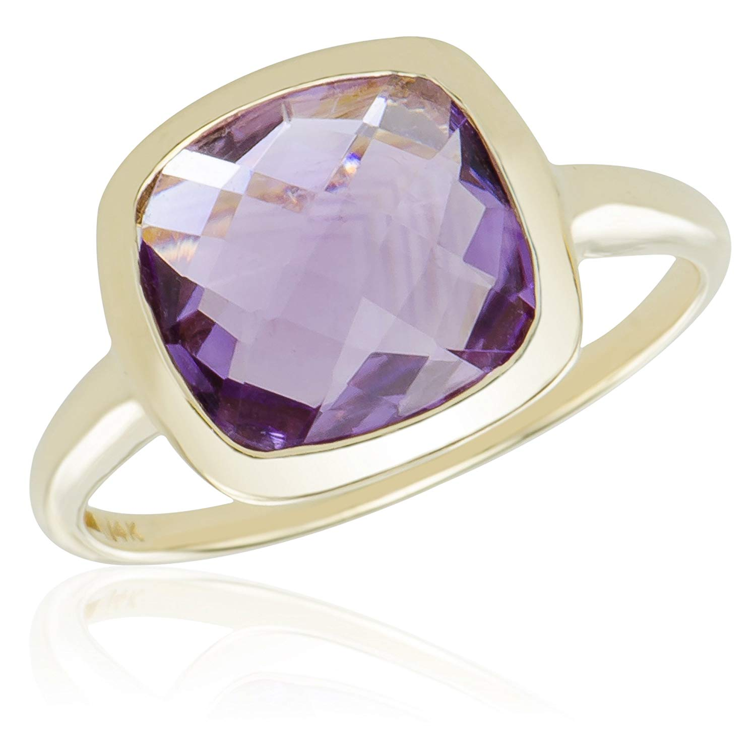 Caratera Fine Gold Jewelry 14k Brilliant Gold Chunky Ring with Cushion Style Purple Amethyst for Men and Women