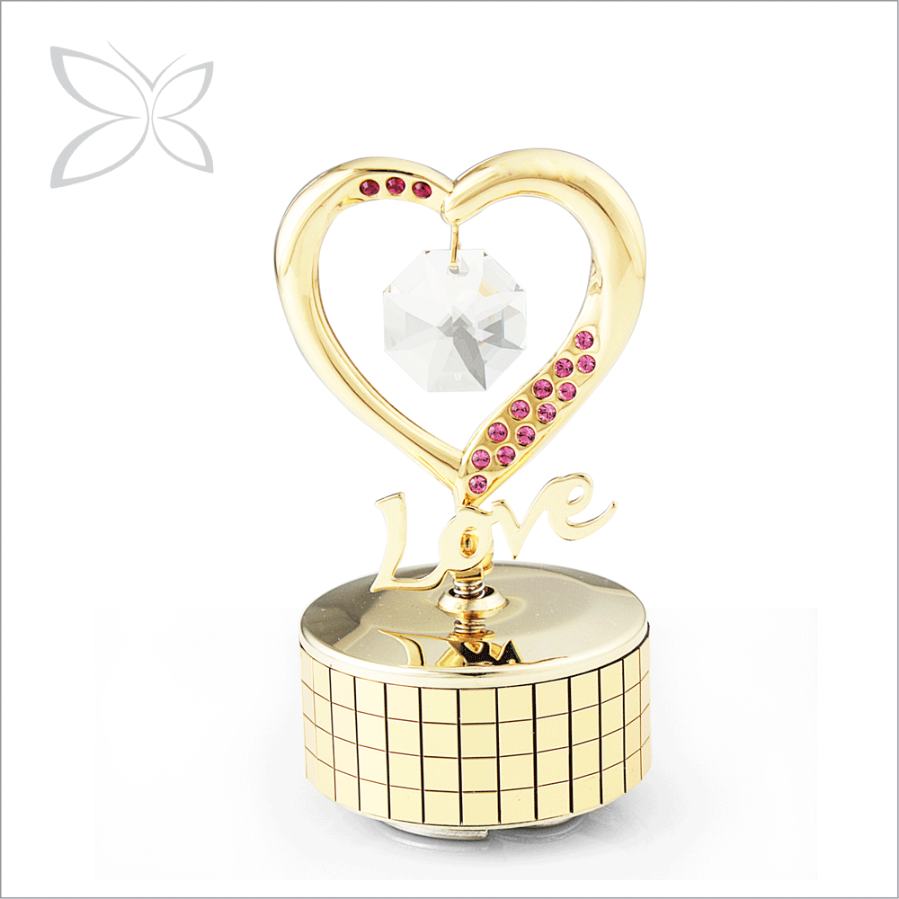 Unique Luxury Gold Plated Metal Handcrank Music Box