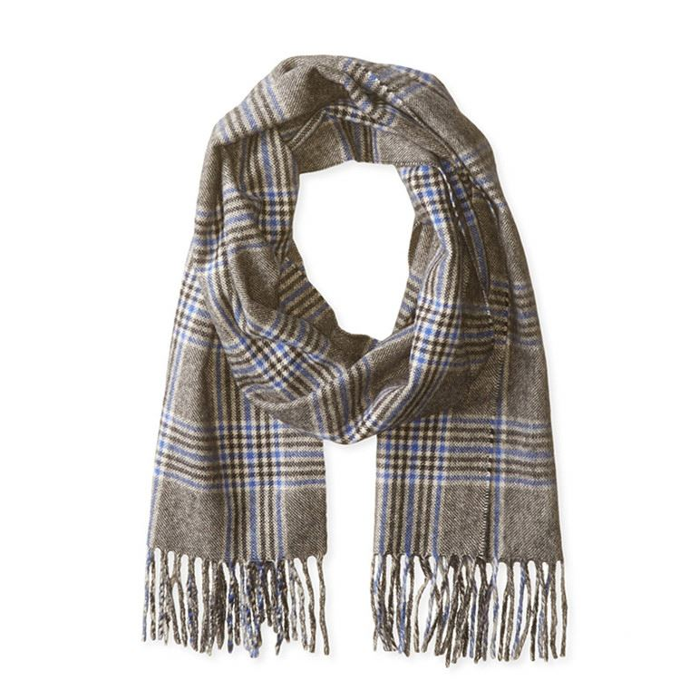 Top fashion excellent quality 100% cashmere plaid tassel tail scarf and shawl