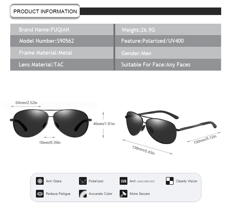 Fuqian polarized white frame sunglasses mens for business for men-9