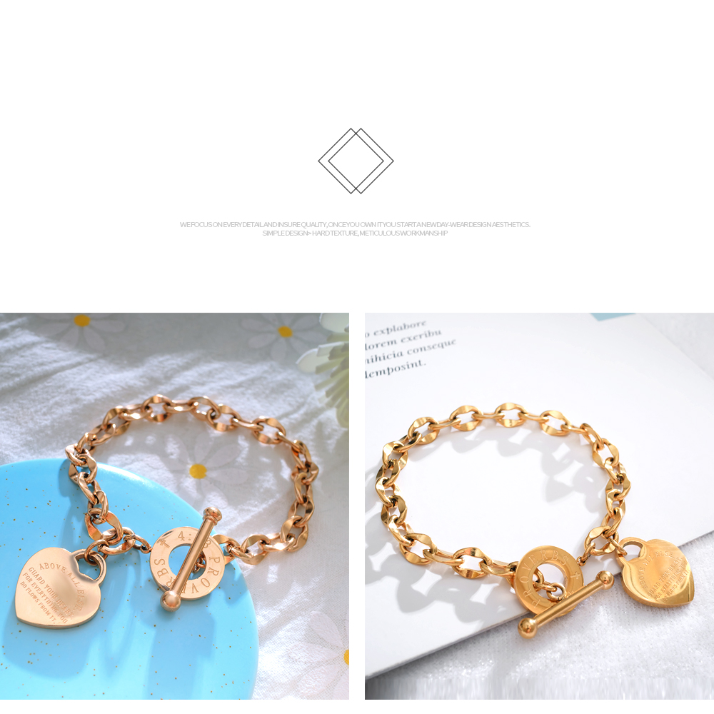 Wholesale Fashion Jewelry Stainless Steel Chain Toggle Clasp Rose Gold Heart Bracelet