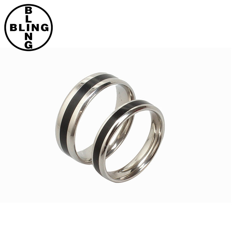 <<< Bling Fashion European Style Black Color Titanium Stainless Steel Ring Male Female Jewelry for Black Monday Couple Rings/