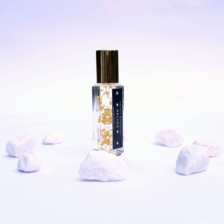 Helios Organic Facial Oil by Celeste Botanicals | 0.3 Oz | Rosehip | Rose Otto | 24K Gold | Dark Spot & Sun Spot Correction | Anti-aging