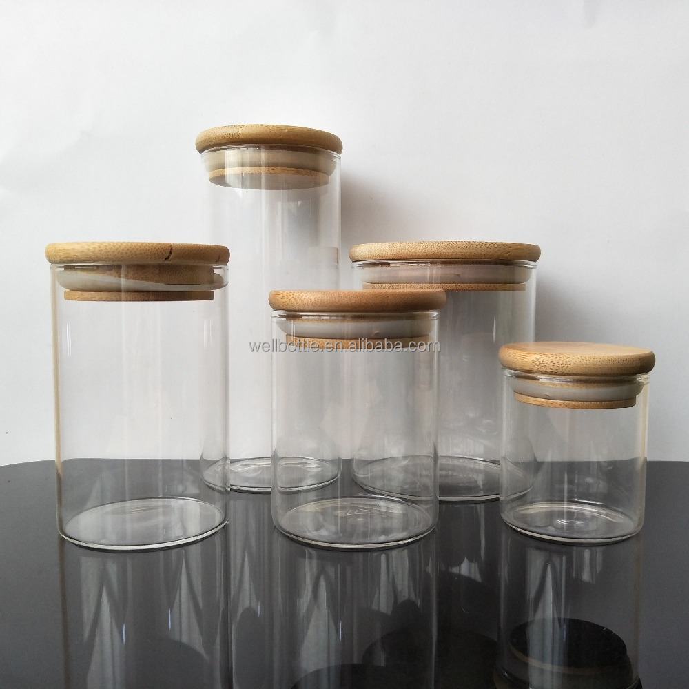 large glass food storage jars wholesale glass jar wooden lid for honey food candy glass jar GSJ-02A