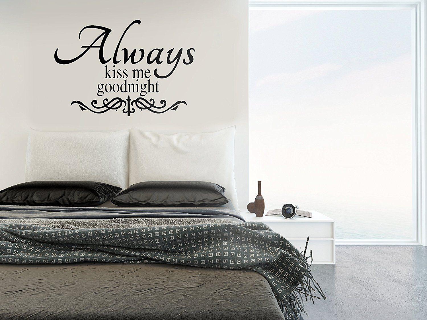 Buy Bedroom Decor with Always Kiss Me Goodnight Wall Sticker by the ...