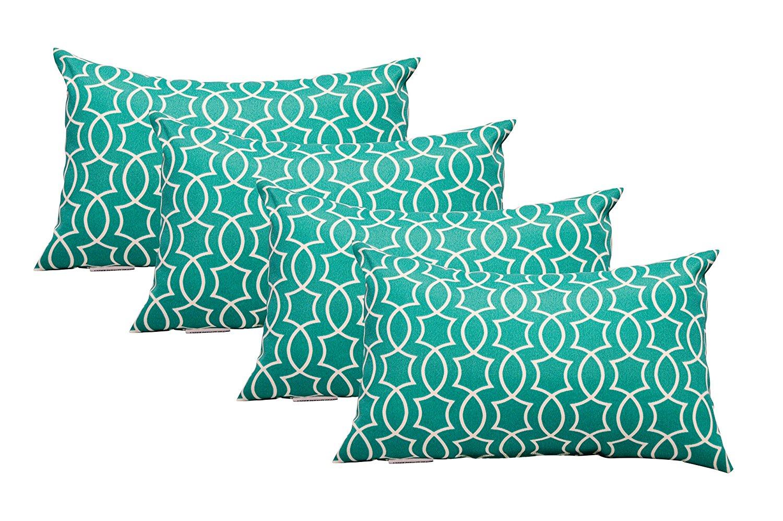 Resort Spa Home Decor Set of 4 Indoor/Outdoor Decorative Lumbar/Rectangle Pillows - Teal Geometric Pattern