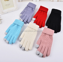 Fashion Acrylic Top sale Manufacturer Knitted Magic Gloves cute touch screen Cheap cheap winter wholesale gloves