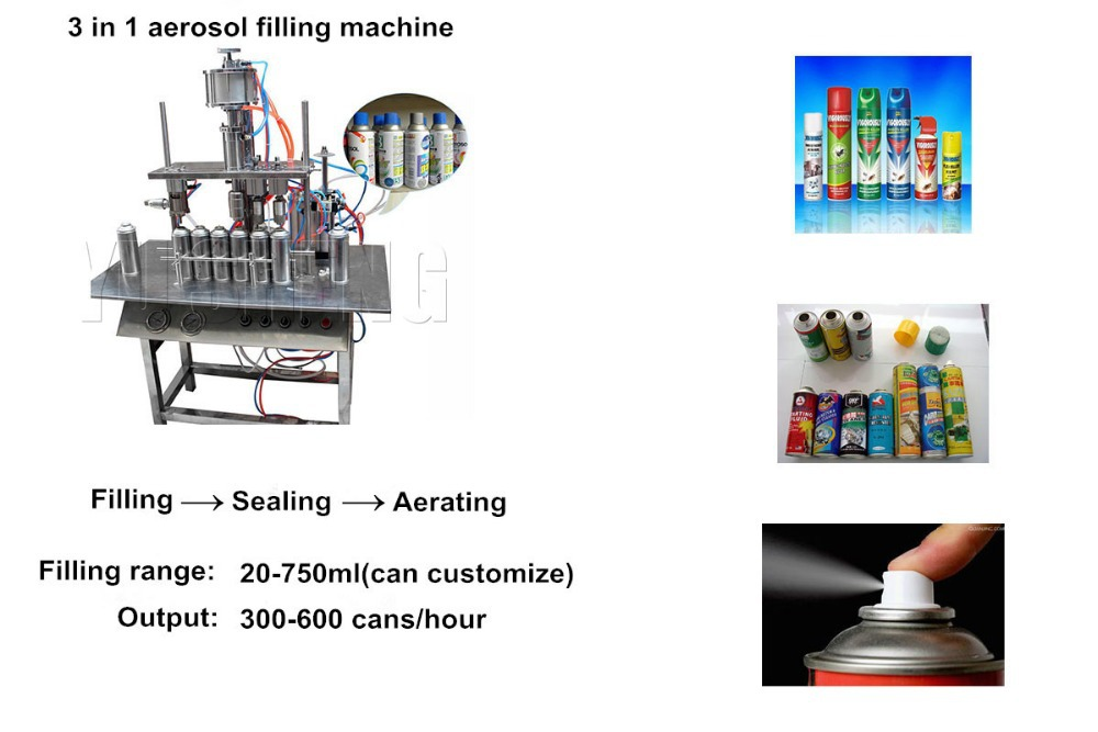 Semi automatic air injection tin can aerosol filling crimping machine